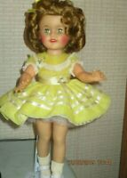 SHIRLEY TEMPLE DOLL 15  inch 1957 IDEAL IN YELLOW PARTY DRESS  STUNNING