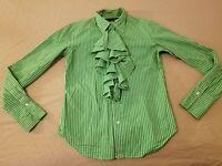 Womens Polo Ralph Lauren Dress Shirt 12 Green Stripes Button Cotton Blouse