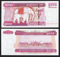 MYANMAR BURMA 5,000 5000 Kyats Kyat 2015 P-83 Elephant UNC Uncirculated