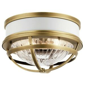 Kichler 2 Light Flush Mount, Natural Brass - 43013NBR
