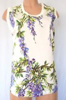 DOLCE & GABBANA SCOOP NECK SLEEVELESS STRIPED BACK WITH LAVENDER PRINTED TOP 44