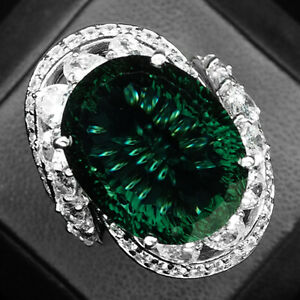 Tourmaline Green Concave Oval 20.20 Ct.Sapp 925 Sterling Silver Ring Size 7 Gift