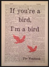 If You're A Bird I'm A Bird Print Vintage Wall Art Picture Quote Notebook