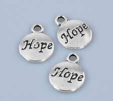 10 Word Hope Charms Round Disk Antique Silver 15 x 12 mm US Seller 445