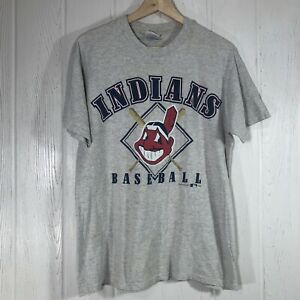 Vintage Cleveland Indians 1998 T-Shirt Tee Team Hanes M Gray S/S