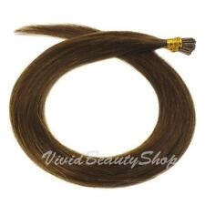 25 I Stick Tip Micro Beads Straight Remy Human Hair Extensions Chestnut Brown #6