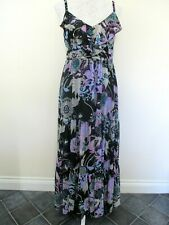 Jasper Conran maxi dress size 12 blue black square sequins thin straps party