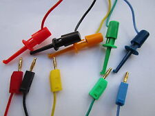10 sets Gold 2mm Banana Plug to Small Test Hook Clip Lead Cable 5 Colors 50cm