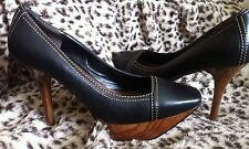"NINE WEST Ladies Black Leather  Platform Wood Effect Heels 4"" UK 4 US 6W EUR 37"