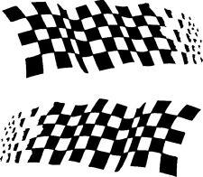 Chequered racing flags (A) 1 pair MATT BLACK vinyl decal car stickers 57x22cm ea