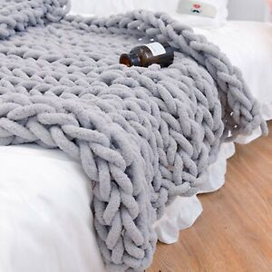 Large Soft Wool Chunky Knit Chenille Thick Blanket Hand-woven Throw Sofa Bed Rug