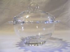 CLEAR GLASS CANDY DISH WITH A LILY DESIGN ON LID