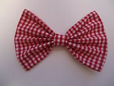 """XL - RED GINGHAM DOG BOW TIE / COLLAR ACCESSORY- DOG GIFT- 7"""" X 5 """" BIG DOG SIZE"""