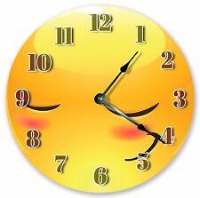 "10.5"" BLUSHING EMOJI CLOCK - Large 10.5"" Wall Clock - Home Décor Clock - 3062"