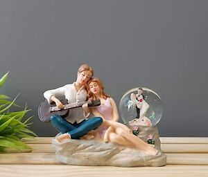 Romantic Love Couple Glass Ball Miniature Statue Showpiece for Gift Husband Wife
