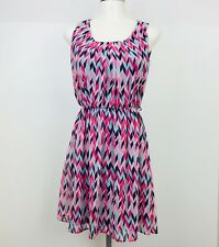 Maurices Dress size Small Pink Chevron Womens Sleeveless Sheer Lined Sheath