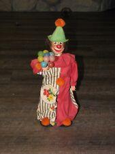 "Unique Vintage Handmade Figurine Plastic Circus Clown with Balloons 13"""