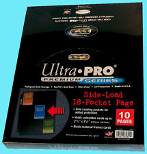 10 ULTRA PRO 18 POCKET DOUBLE SIDE LOADING PAGES Black Divider Binder Album Load