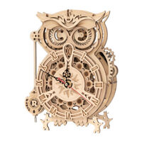 Robotime ROKR Owl Clock LK503 Battery Driven Mechanical Gears 3D Wooden DIY Kit