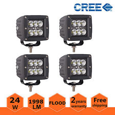 4X 3inch 24W CREE LED Work Light Flood Cube Pods Off-road Boat ATV Lamp Jeep