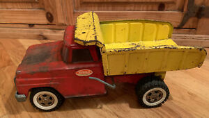 Vintage 1960s Tonka Toy Pressed Steel Red and Yellow Dump Truck Collectible Toy