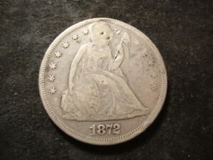 1872 Seated Liberty Dollar Repaired Silver Dollar Coin AZX