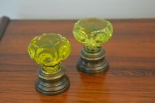 Pair glass newel post finial boule escalier stair ball with bronze stand