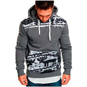 Men's Warm Winter Hoodie Slim Fit Hooded Sweatshirt Outwear Christmas Deer Coat