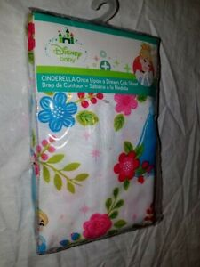 Disney Baby Cinderella Once Upon a Dream Fitted Crib Sheet Princess Flowers