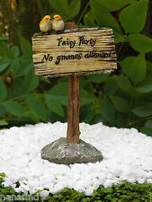 "Miniature Dollhouse FAIRY GARDEN ~ ""Fairy Party - No Gnomes Allowed!"" Sign ~ NEW"