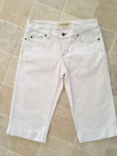 WOMENS, SUSSAN DENIM, COTTON/STRETCH CROPPED WHITE JEANS, SIZE 8