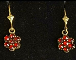 Antike Jugentstiel Böhmische Granat Ohrringe Diamant Rosenschliff Gold