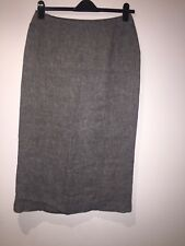 Marilyn Anselm Design For Hobbs Long Linen Skirt White Grey Black Size 14
