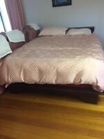 Futon style dark wood queen bed frame and mattress