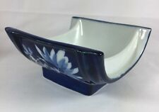 Japanese Midnight Blue White Floral Square Porcelain 2 Dipping Sauce Bowls Dish