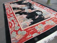 Vintage Hand Made Art Deco Chinese Oriental Black Wool Large Carpet 488x305cm