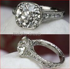 Wedding Ring 925 Sterling Silver 2Ct White Round Moissanite Vintage Engagement