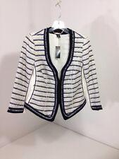 White House Black  Market Striped Tweed Jacket Size Navy/Ivory SZ 6 NWT $160