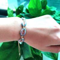 Lucky Boho Sea Shell Beads Bangles Rope String Braided Bracelet Women Jewelry