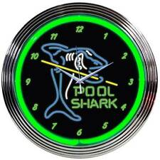 Pool Shark Neon Clock sign Billiards 8 ball pool table and cue balls Man cave