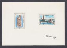 Jean Van Noten, Belgian stamp designer, Belgium Sc 1072, 1074 on signed card