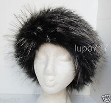 LONG FLUFFY FAUX FUR HEADBAND HAT SKI EAR WARMER MUFFS ONE SIZE 60CM NEW