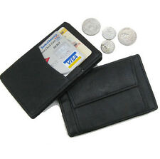 Black Genuine Leather Men's Magic Wallet Pocket Card Coin Holder