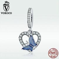Voroco 925 Sterling Silver Bead Blue Butterfly Charm Zircon Pendant For Bracelet