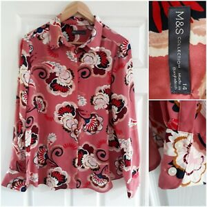 M&S Pink Bold Retro Floral Print Blouse Shirt Size 14 Smart Workwear Party