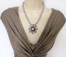 Beautiful Geometric Lilac Flower Pendant Necklace Faceted Beads and Crystals