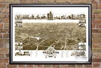 Vintage Brockton, MA Map 1882 - Historic Massachusetts Art Victorian Industrial