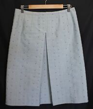 NO LABEL HANDMADE ~ Vintage 60's Aqua White Red Woven Dots A-Line Skirt 12