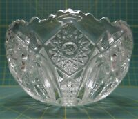 """LE Smith Hobstar Clear Pressed Glass Fruit Punch Bowl 8.5""""D x 4.75""""H"""
