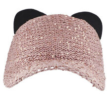 Lux Accessories Pink Sequin Cat Ear Baseball Cap Dat Hat Trendy Hat for Girls